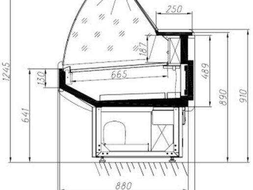 Габаритные размеры холодильной витрины Альтаир
