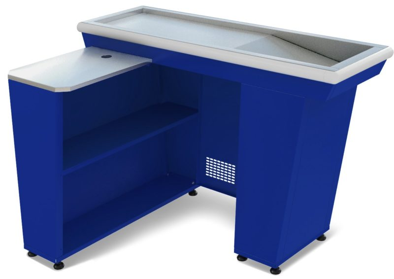 Кассовый бокс КБ-1,5-1Н одинарный накопитель (синий)